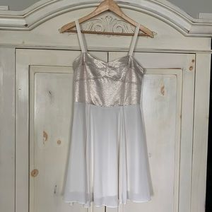 Express Chic White & Gold Dress - Size 8